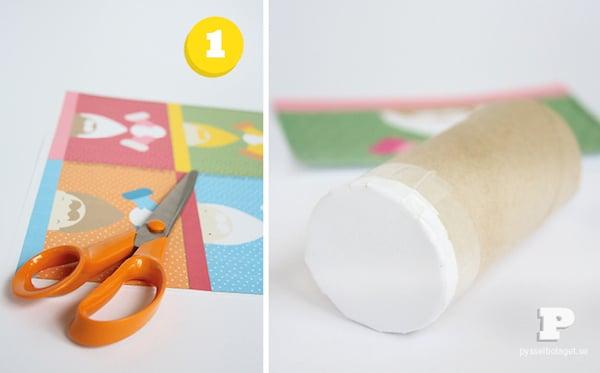 calendario de adviento con rollos de papel