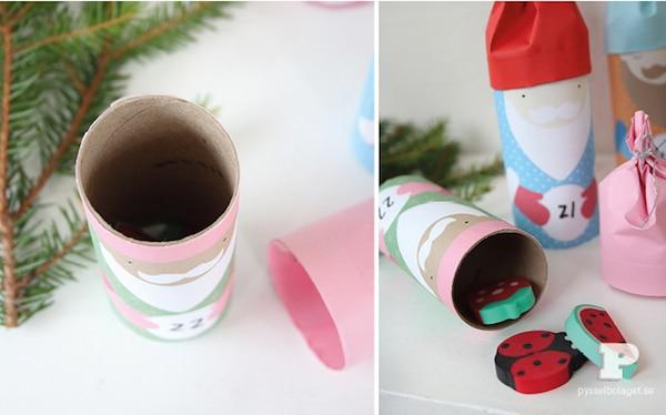 cómo hacer un calendario de adviento con rollos de papel higiénico