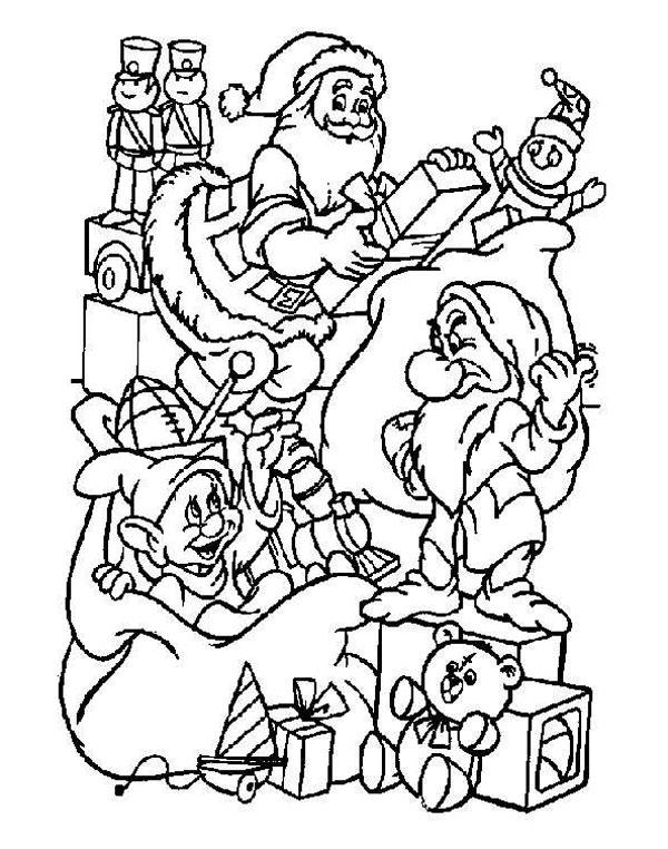 dibujos de navidad para colorear de los enanitos