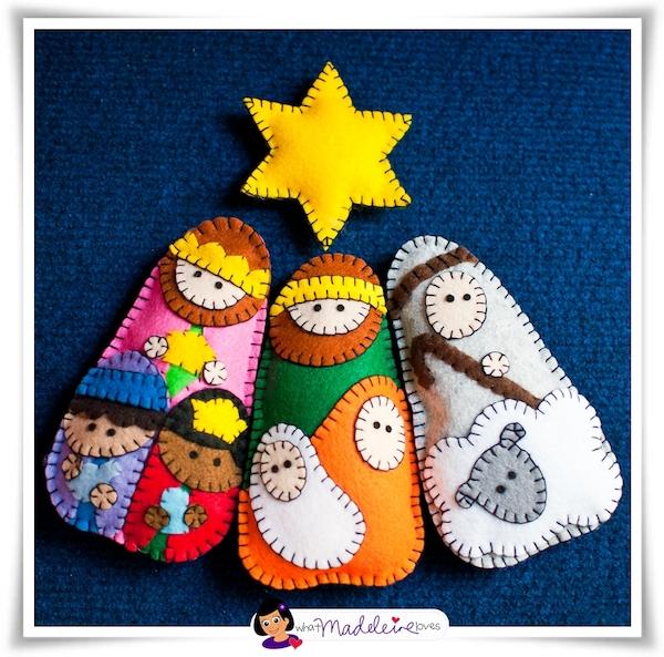 Un portal de bel n de fieltro pequeocio - Manualidades en fieltro para navidad ...