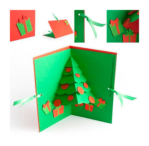 Tarjeta de navidad hecha a mano pequeocio for Decoracion navidena con ninos