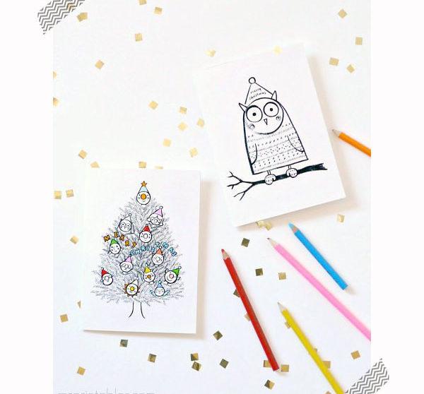Tarjetas de Navidad para imprimir y colorear | Pequeocio.com
