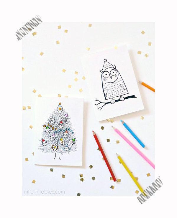 Tarjetas de Navidad para imprimir y colorear - Pequeocio