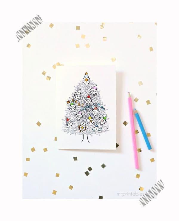 tarjeta de navidad imprimible para colorear