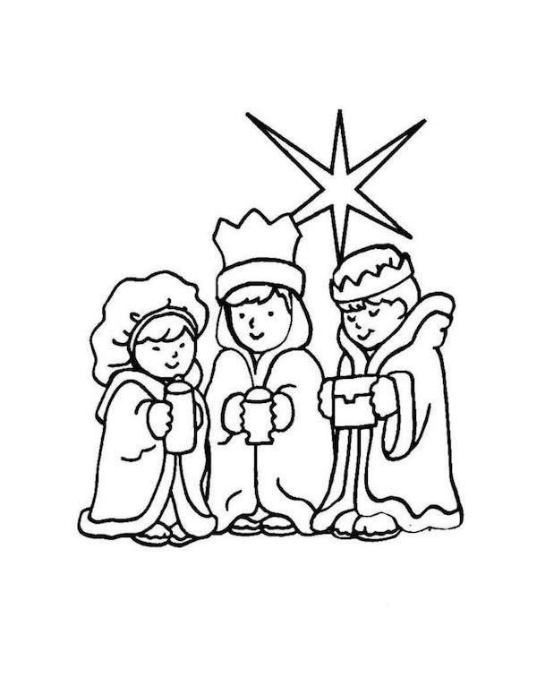 Dibujos para colorear de los Reyes Magos - Pequeocio