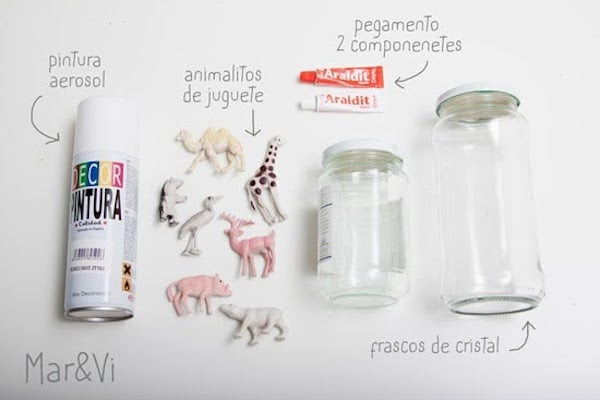 frascos de cristal decorados con animalitos