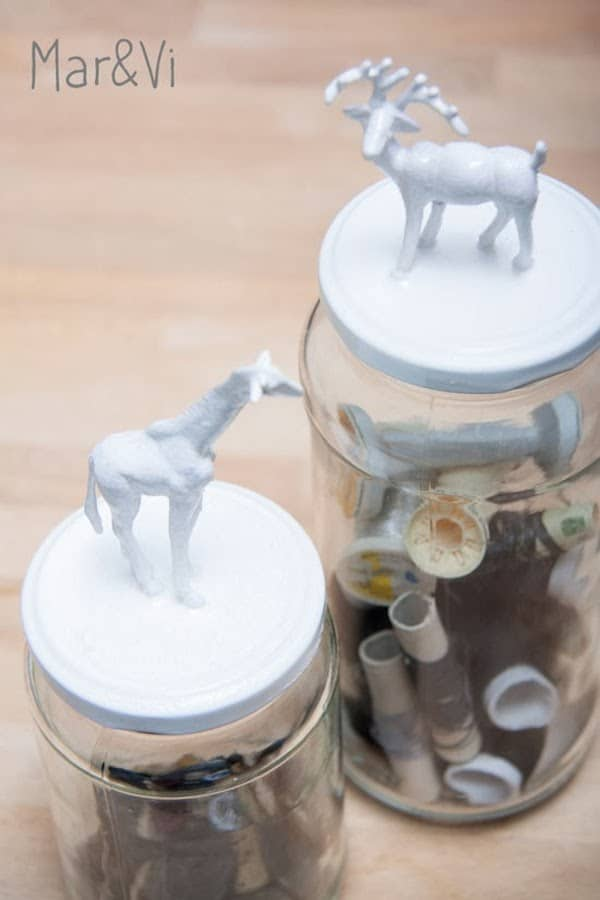 Manualidades infantiles frascos con animalitos pequeocio - Diy frascos decorados ...