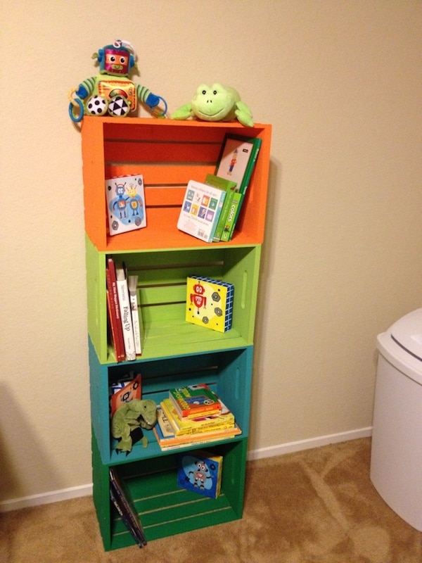 Used Wooden Crates as Shelves for Kids Rooms
