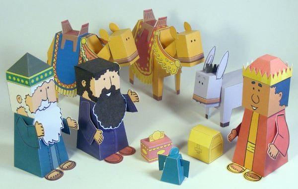muñecos de papel de los reyes magos