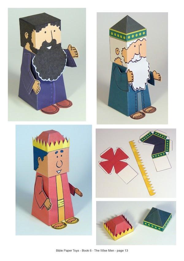muñecos recortables de los Reyes Magos
