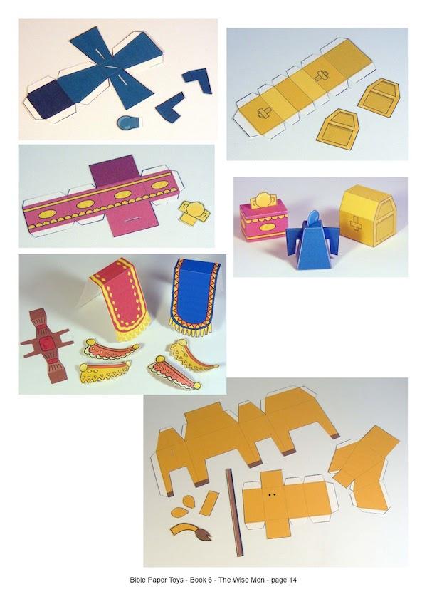 muñecos de papel para armar de los Reyes Magos