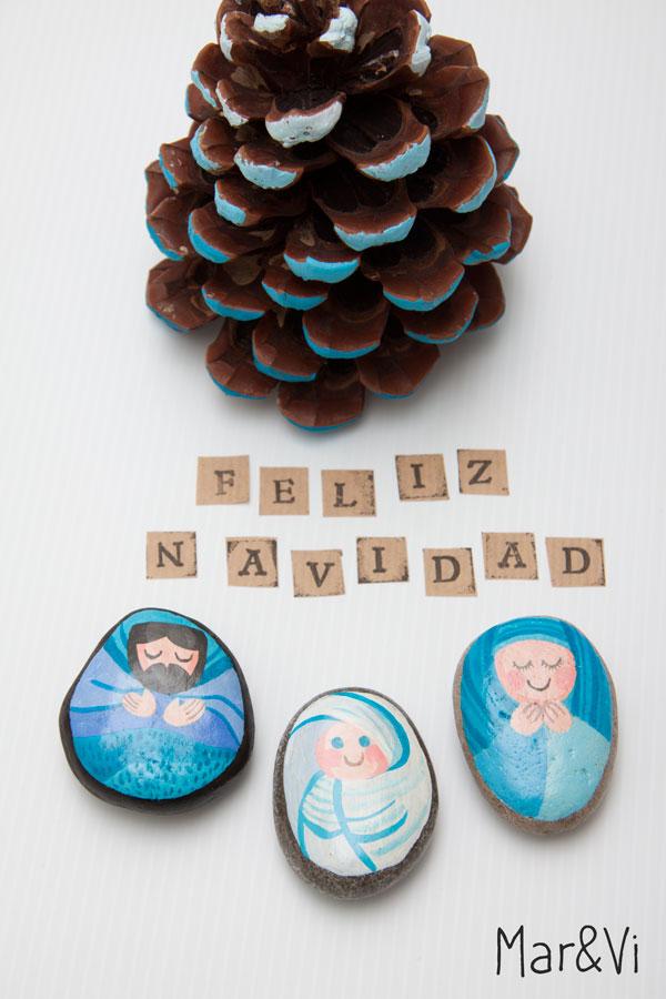 belén de navidad de piedras pintadas