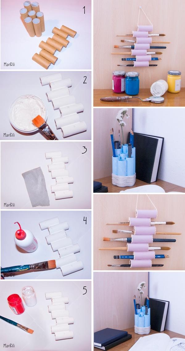 paso a paso para hacer portalápices con tubos de cartón