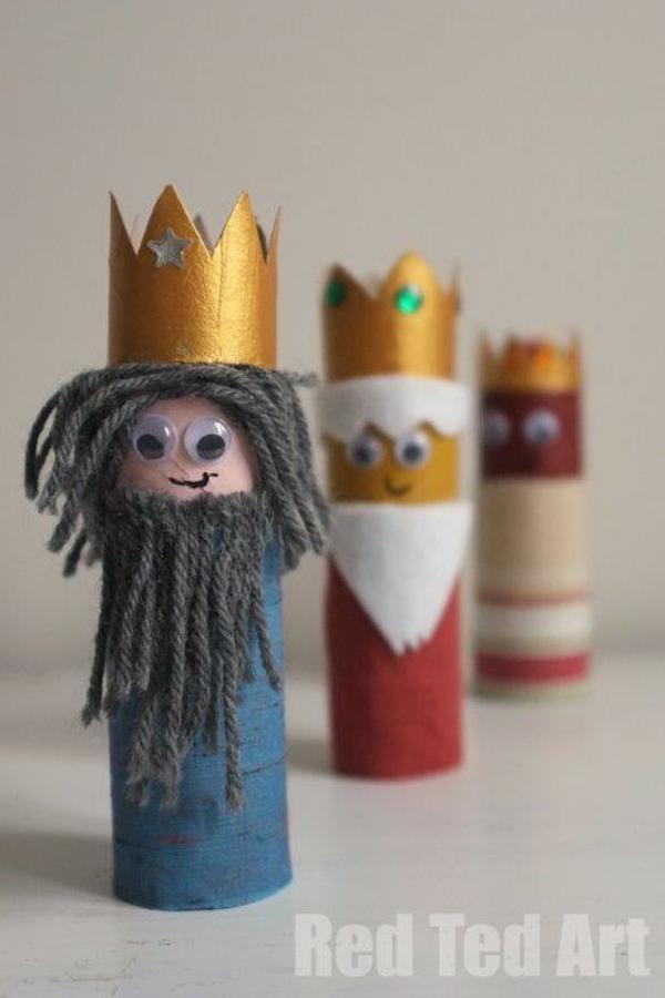 Reyes magos con rollos de papel higi nico - Manualidades con rollos de papel higienico para decorar ...