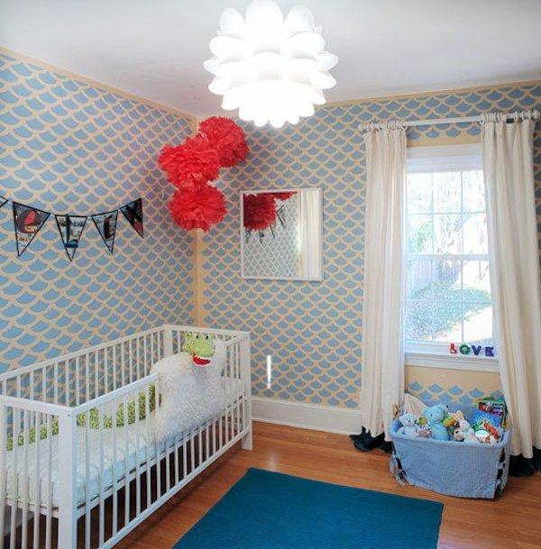 Decorar la habitaci n infantil con stencil pequeocio - Papeles infantiles para paredes ...