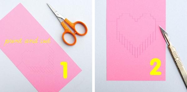 tarjeta de san velentín con corazón pixelado
