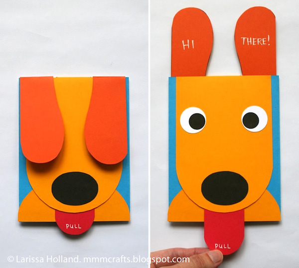 Una tarjeta casera con un perrito que saca la lengua Pequeocio