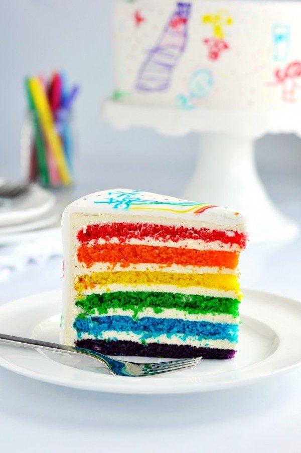tarta de cumpleaños con los colores del arco iris