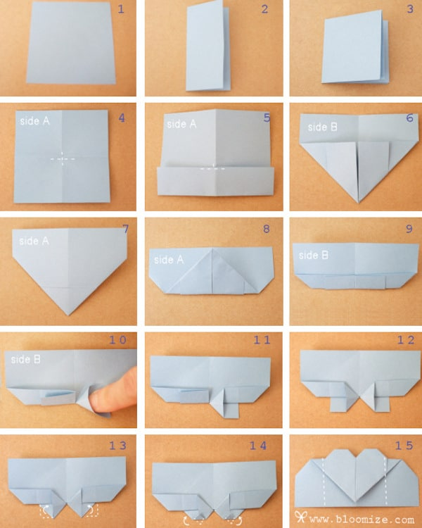 tutorial fotografico para hacer un corazon origami