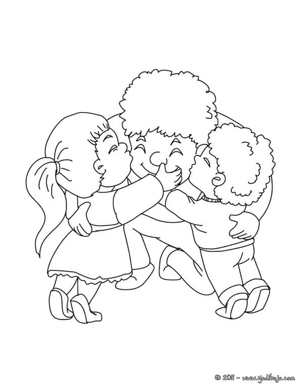 Children Hugging Coloring Pages
