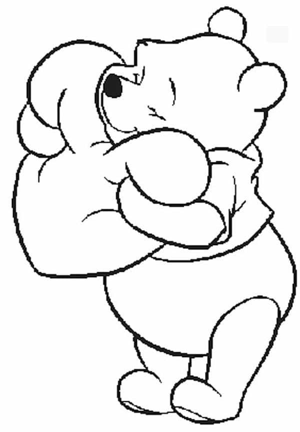 Winnie Pooh Valentine Coloring Pages