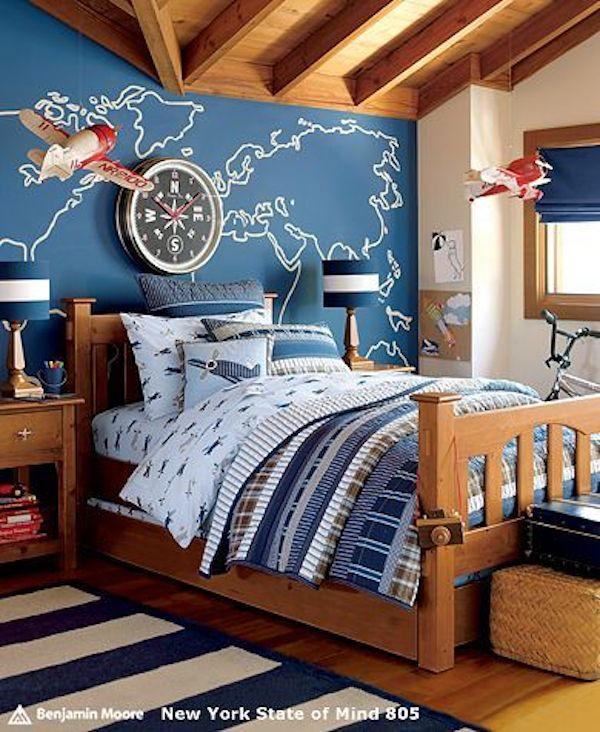 dormitorio de niños decorados con aviones