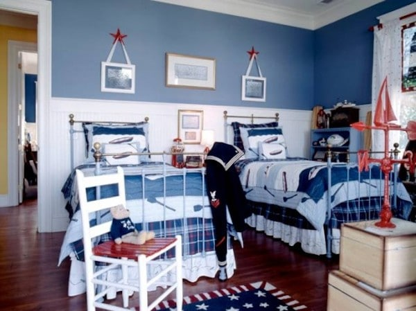 habitación infantil en tonos azules