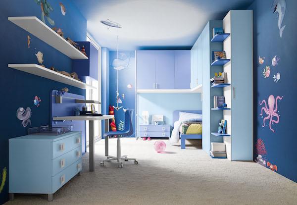 dormitorio infantil en azul y celeste