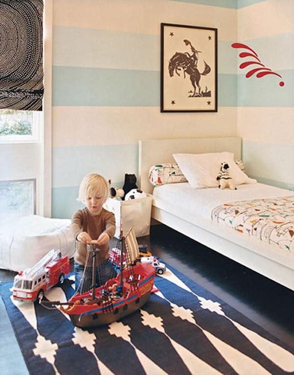 dormitorio para niños en azul