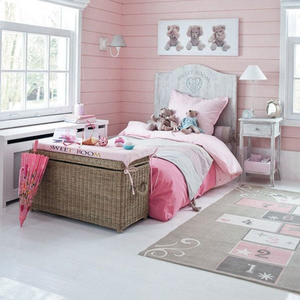 10 habitaciones infantiles en rosa pequeocio - Como decorar una habitacion rustica ...