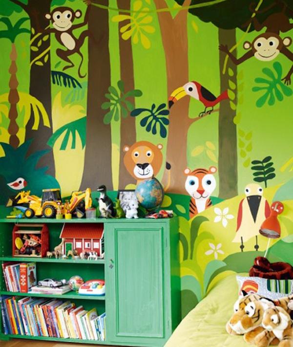 7 habitaciones infantiles con decoraci n de jungla pequeocio - Murales para habitaciones infantiles ...