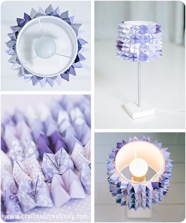 decorar una lámpara con origami