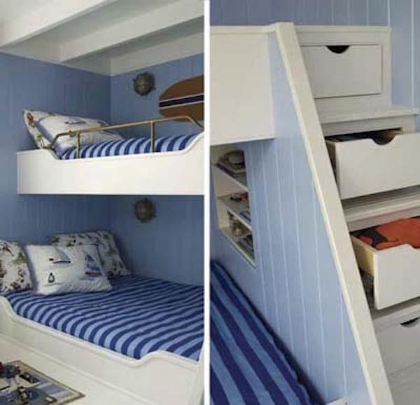 10 habitaciones infantiles con literas pequeocio - Literas con escaleras de cajones ...