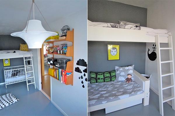 dos camas en una 10 habitaciones infantiles con literas