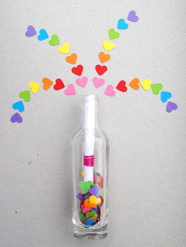 mensaje mágico en una botella para san valentín