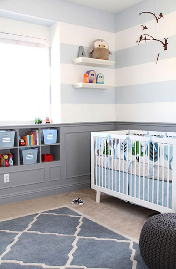 decorar la habitación del bebé con rayas