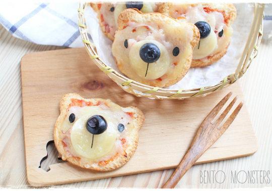 pizzas divertidas para niños en forma de oso