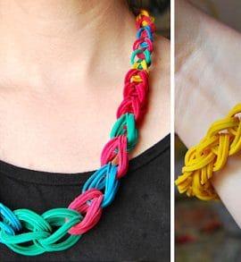 cómo hacer un collar con gomas elásticas