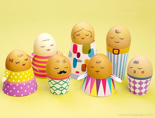 huevos decorados con caritas
