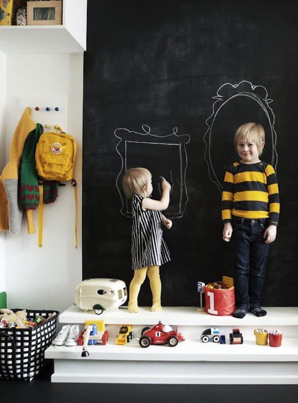 pared infantil pintada con pizarra