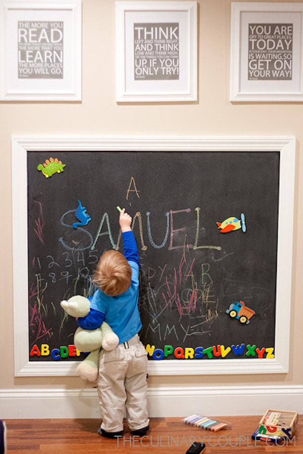 6 paredes infantiles con pizarra pequeocio - Pared de pizarra ...