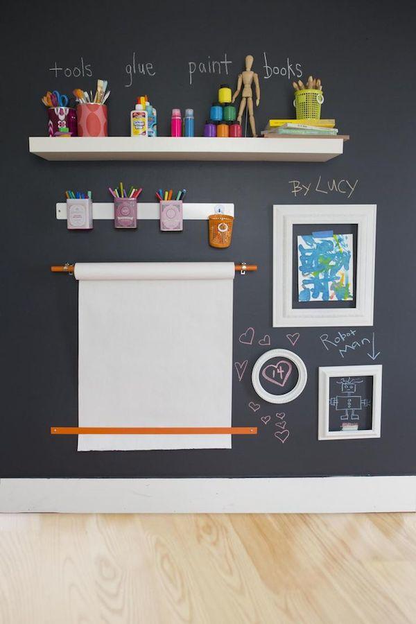 paredes infantiles con pizarra rincn creativo