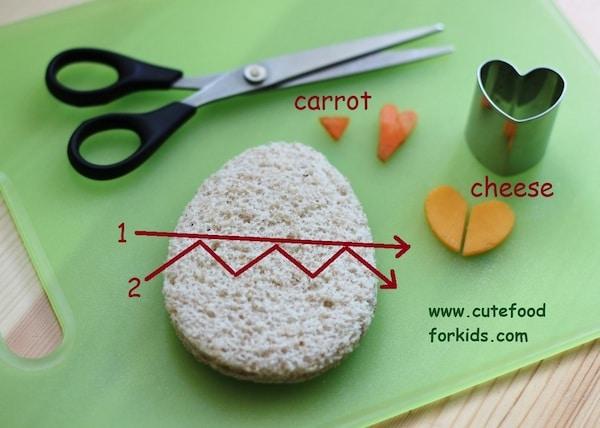 sandwich para niños en forma de pollito