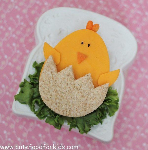 sandwich divertido en forma de pollito