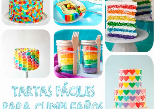 Tartas fáciles de cumpleaños llenas de color