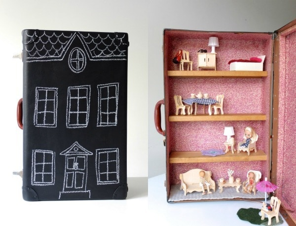 casa de muñecas casera en una maleta