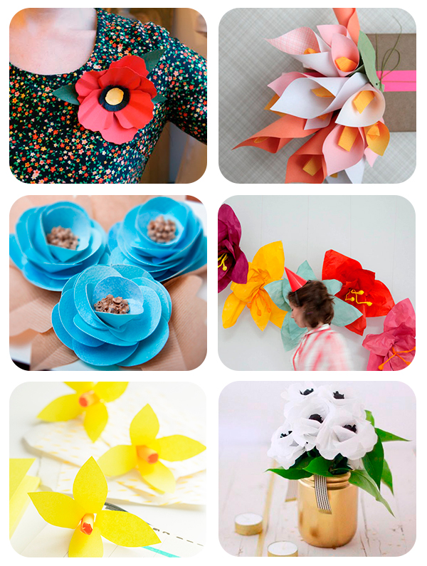 6 flores de papel paso a paso Pequeocio