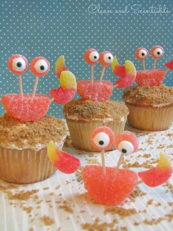 Cupcakes con cangrejo
