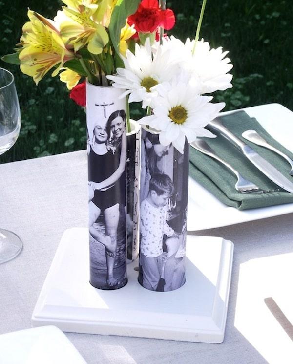 jarrones para flores con fotos del Día de la Madre