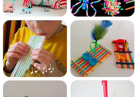 manualidades infantiles con pajitas